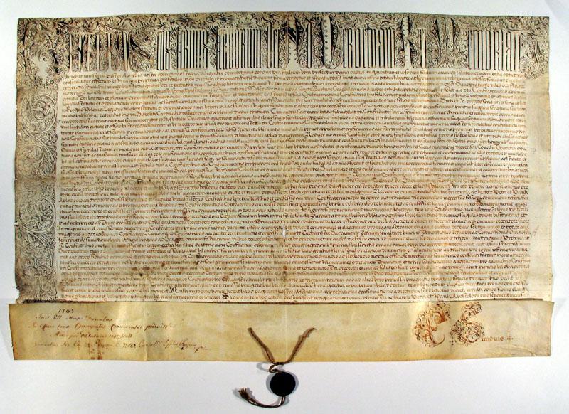 Bulla papieża Grzegorza XIV z 1591 r., zatwierdzająca działalność Arcybractwa Miłosierdzia. Archiwum Państwowe w Krakowie.