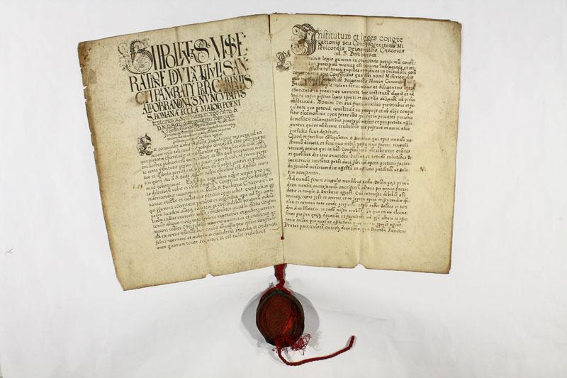 Dokument nuncjusza Hipolita Aldobrandiniego z 1588 r., zatwierdzający działalność Arcybractwa Miłosierdzia. Archiwum Państwowe w Krakowie.