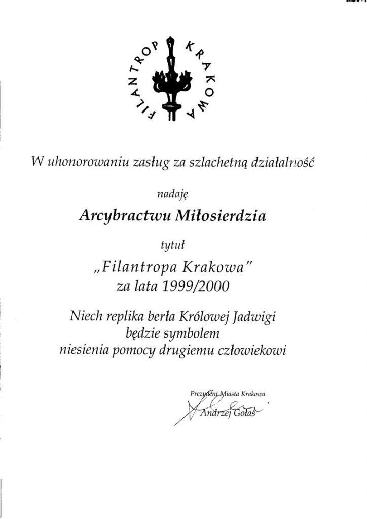 Dyplom Filantropa Krakowa za rok 1999-2000.