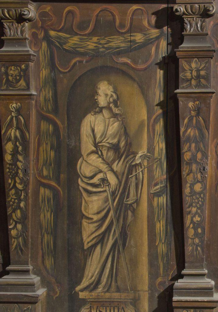 Iustitia (sprawiedliwość). Malowidło na szafie w sali klejnotowej.