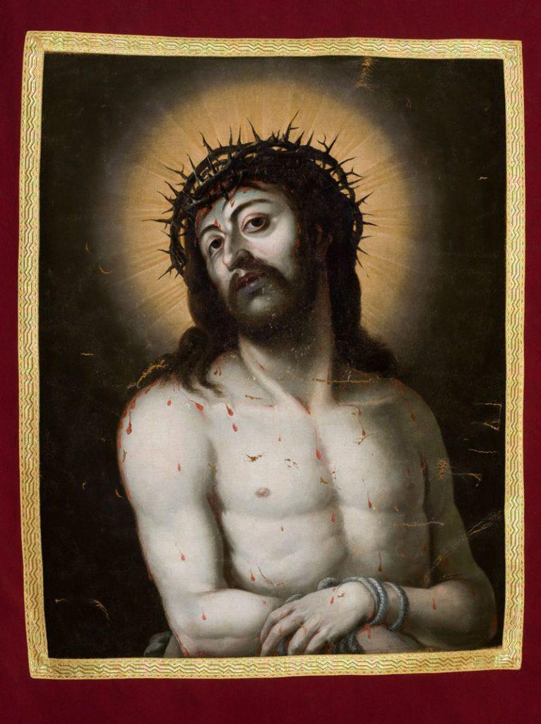 Obraz Pana Jezusa na chorągwi procesyjnej Arcybractwa Miłosierdzia.