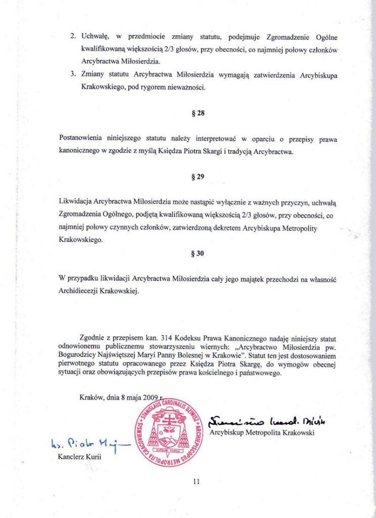 Statut Arcybractwa Miłosierdzia z 2009 r., zatwierdzony przez kard. Stanisława Dziwisza. Strona ostatnia.