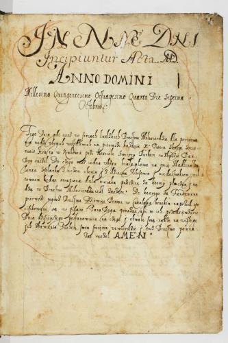 1 strona najstarszej księgi protokołów Arcybractwa Miłosierdzia z 1584 r., zawierająca opis spotkania ks. Piotra Skargi z Magdaleną,,, żoną stolarza Walentego. Archiwum Państwowe w Krakowie.