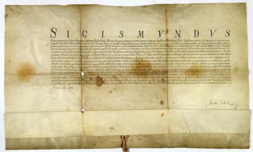 Dokument króla Zygmunta III Wazy z 1611 r., zatwierdzający statut Arcybractwa Miłosierdzia. Archiwum Państwowe w Krakowie.
