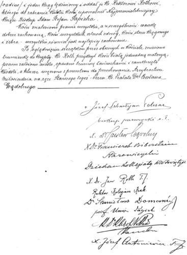 II strona protokołu komisyjnego otwarcia trumienki ze szczątkami ks. Piotra Skargi z 1912 r. Archiwum Państwowe w Krakowie.