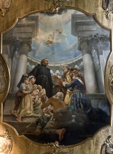 Obraz pędzla Kazimierza Pochwalskiego na środku sklepienia sali portretowej.