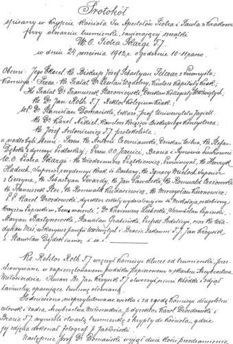 Protokół komisyjnego otwarcia trumienki ze szczątkami ks. Piotra Skargi z 1912 r. Archiwum Państwowe w Krakowie.