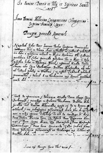 Wzmianka o założeniu Banku Pobożnego w księdze dochodów Banku z lat 1587-1719. Archiwum Państwowe w Krakowie.