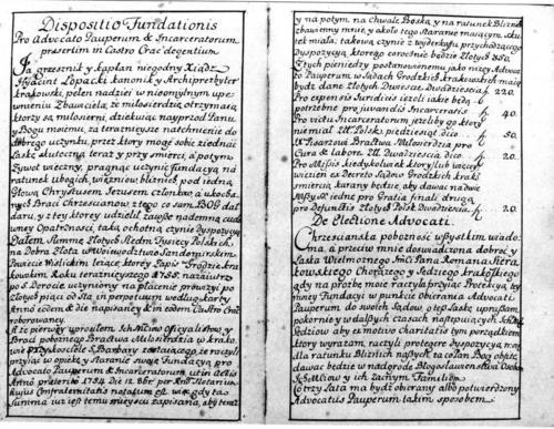 Zapis ks. Jacka Łopackiego z 1755 r. Archiwum Państwowe w Krakowie.